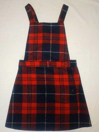 сарафан комбинезон на лямках юбка в клетку шотландская тартан