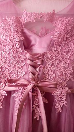 Кружевное платье, выпускное платье , розовое платье, новогоднее платье