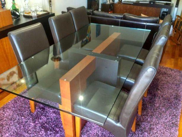 Mesa Jantar Vidro Temperado c/6 cadeiras de pele e oferta mesa apoio