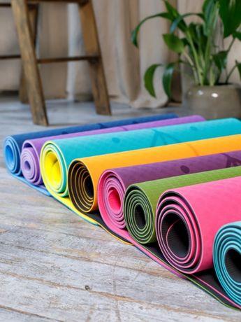 Коврик для йоги с разметкой, йогамат, коврик для фитнеса