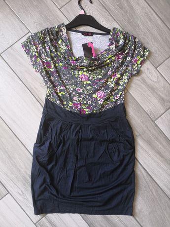 Sukienka/tunika kieszenie kwiaty