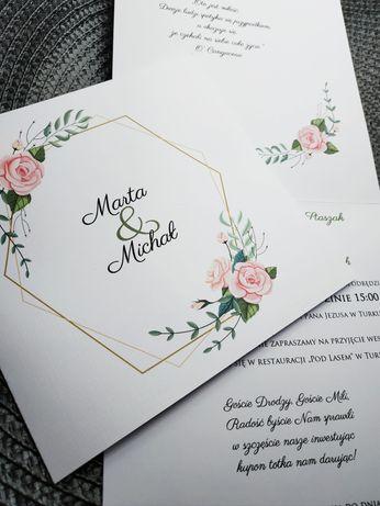 Zaproszenia ślubne kwadratowe weselne kwiatowe Boho rustykalne