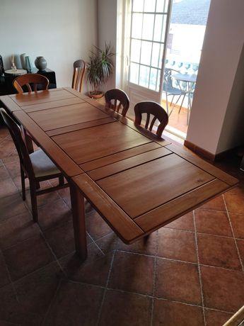 Mesa Madeira Carvalho Jantar Extensível com 5 cadeiras