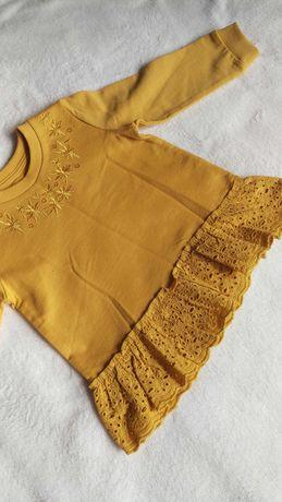 Bluzka ciepla 4-5 lat 110 cm musztardowa falbanka Matalan Bawelniana