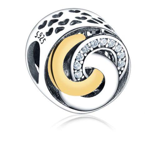Charms PANDORA srebro 925 ażurowy koralik okrągły cyrkonie okazja tani