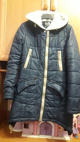 Детское  синие зимнее пальто для девочек
