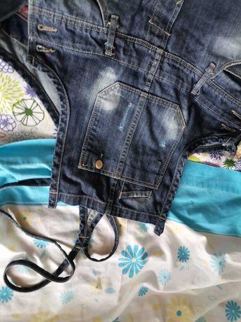calças de peito ganga zara