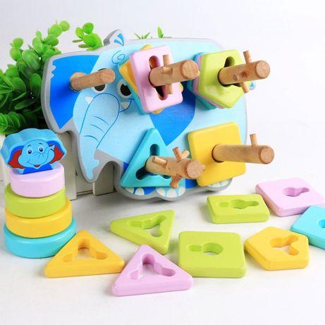 Геометрический сортер Монтессори деревянные развивающие игрушки