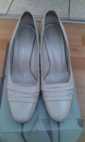 Buty ślubne - Pantofelki Arte di Roma - ecru - r. 37 - skóra naturalna