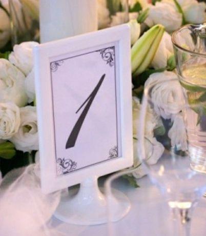 Ramki na numer stołu białe z podstawą ślub wesele
