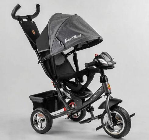 Велосипед коляска трёхколёсный детский, колёса пене, ручка 6588
