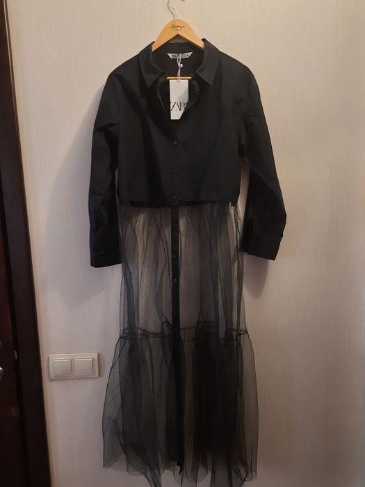 Рубашка Zara эксклюзив! Черная 100^хб Киев - изображение 1