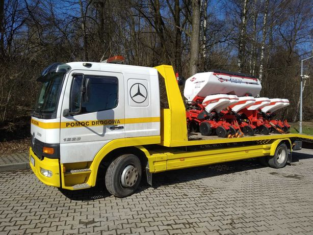 Transport maszyn do 15 ton, laweta z wciągarką