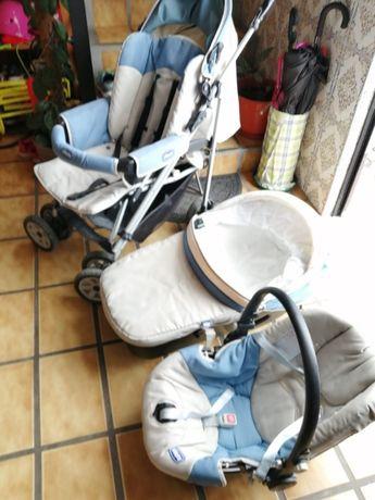Trio Chico, carrinho passeio, alcofa e adaptador
