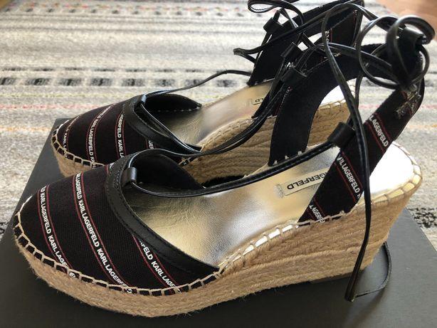 KARL LAGERFELD sandały, koturny jak NOWE, roz. 37
