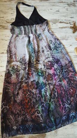 Шикарное,длинное, воздушное платье-сарафан на запах, большого размера