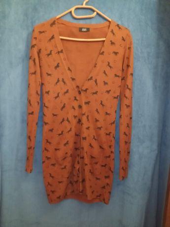 Długi, cienki sweter 36/38 w konie