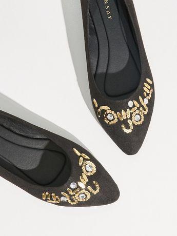NOWE buty 38 balerinki baletki czarne damski sylwester czółenka cekiny