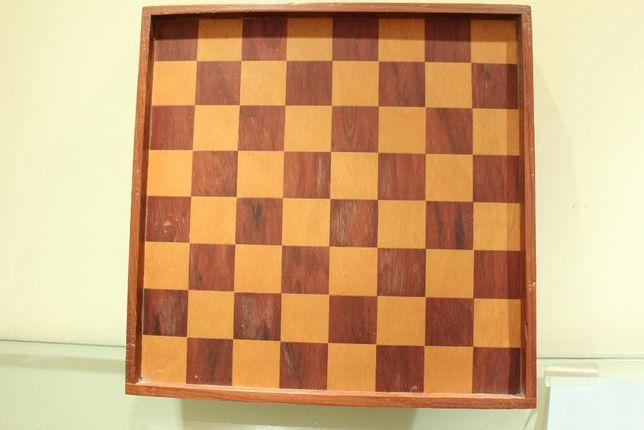 Tabuleiro de Jogo em Madeira bicolor Antigo