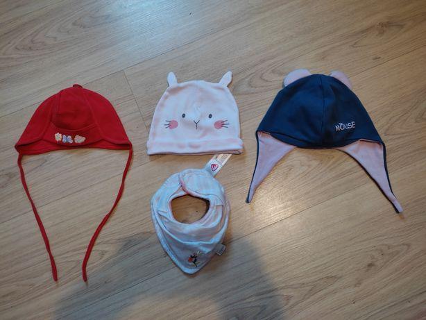 Czapeczki, czapki wiosenne, przejściowe, chusta, apaszka, zestaw