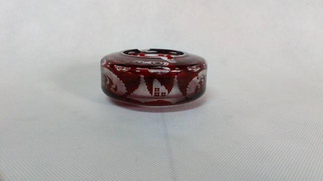 Stara szklana popielniczka ze szkła rubinowego antyk szkło Bohemia