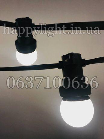 Belt-light профи уличная гирлянда наружная черный плоский провод LED