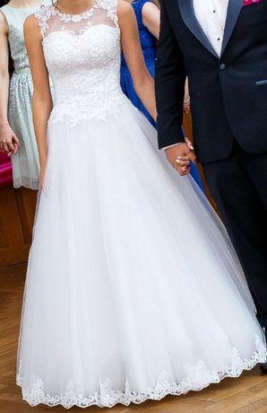Biała suknia ślubna Matylda, princessa, koronka rozmiar 34