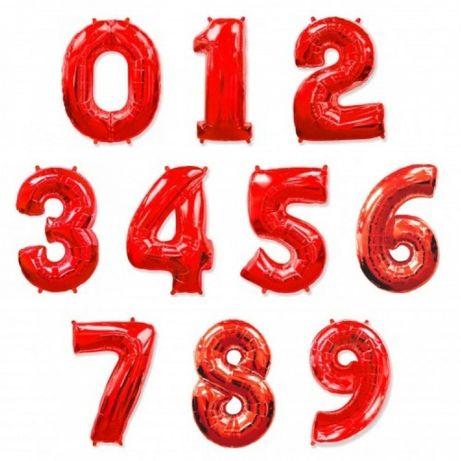 Надувные цифры, фольга,шарик 1 м (1,2,3.4,5,6,7,8.9,0) красные