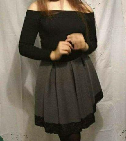 Sukienka czarno szara z długim rękawem, koronką,bez ramion rozmiar xl