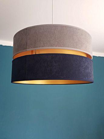 Żyrandol lampa wisząca zamsz 40 cm E27 granat beż glamour art deco