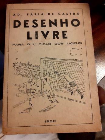 Livro escolar antigo de Desenho  Livre de 1950
