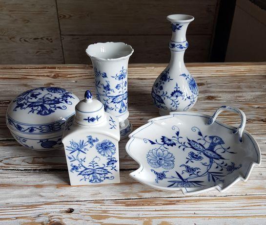 Porcelana Miśnia Meisse wzór cebulowy bomboniera wazon patera pojemnik
