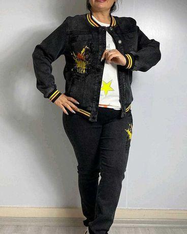 Женский турецкий джинсовый костюм Турция trieste джинсы и куртка