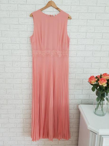 Podróży róż długa maxi sukienka plisy plisowana roz L Asos nowa