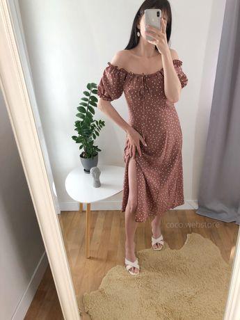 Нежное платье миди в горох с распоркой