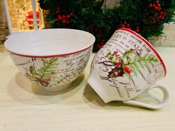 Новогодняя посуда, рождественская сервировка, Англия