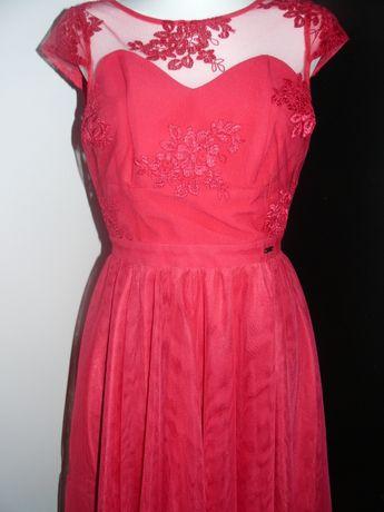 Wizytowa sukienka malinowa koronka rozmiar M