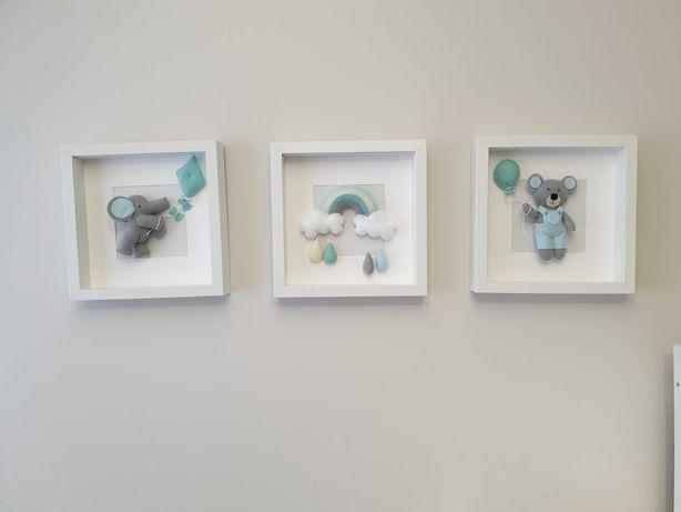 Obrazki na ścianę do pokoju dziecka dla maluszka 3d filcowe komplet