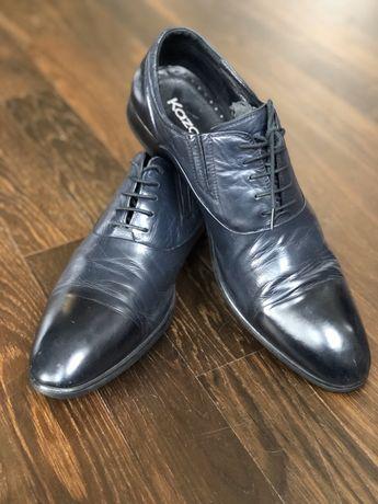 Buty skórzane Kazar granatowe męskie skóra naturalna 44 wkładka 30,5