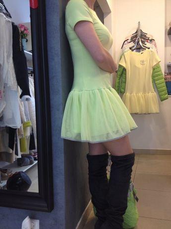 Limonkowa sukienka bawełna+siatka M