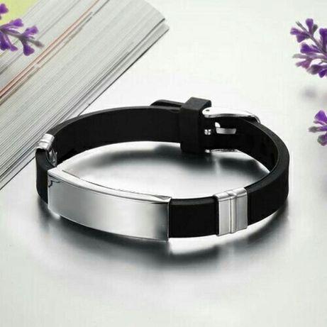 Черный силиконовый браслет нержавеющая сталь