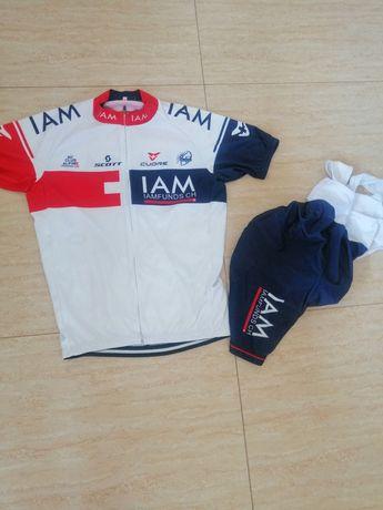 Komplet kolarski spodenki koszulka na rower iam team scott roz. L