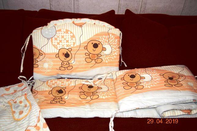 Комплект защита бортики на детскую кроватку, карман и балдахин