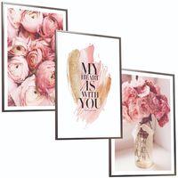 ZESTAW 3 x OBRAZÓW w ramie plakaty kwiaty LOVE miłość róż wazon piwoni