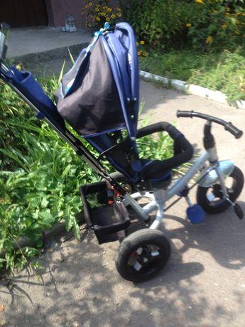 Детский 3-х колесный велосипед коляска со световыми эффектами