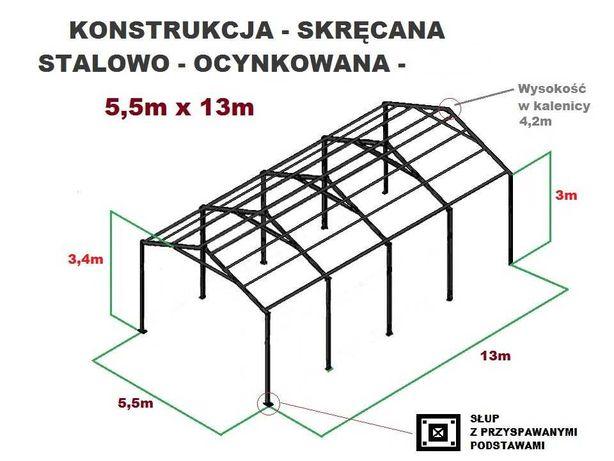 Wiata 5,5x13 Garaż Hala Magazyn Konstrukcja OCYNKOWANA Kombajn Bizon