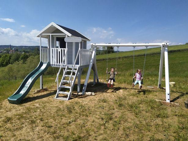 Domek dla Dzieci z Huśtawką i zjeżdżalnią, Plac Zabaw dla Dziecka