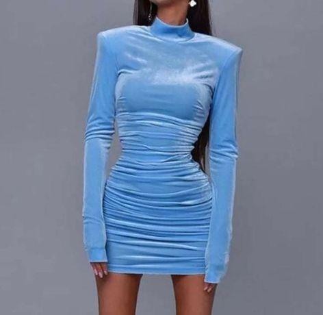 Vestido veludo azul celeste