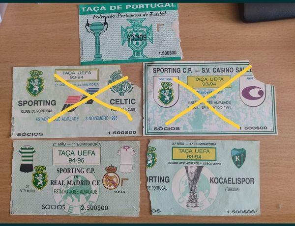 Bilhetes de jogos de futebol do Sporting
