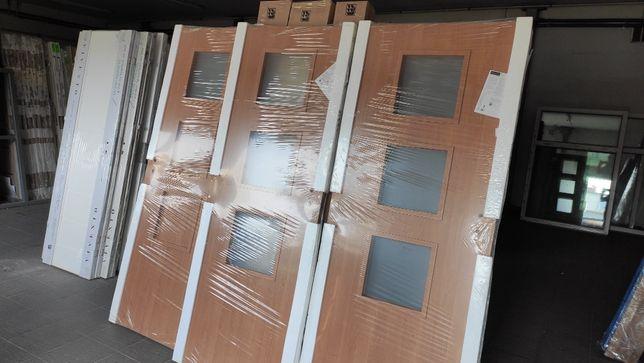 Drzwi 3 szt. z ościeżnicami NAKŁADKOWYMI 80, 70, lewe, prawe olcha